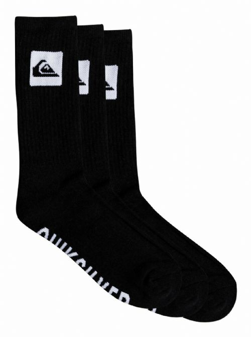 QUIKSILVER MENS SOCKS.3 PAIR PACK CREW LONG BLACK UK 7/10 Eur 40 - 45 9W 69 KVJ
